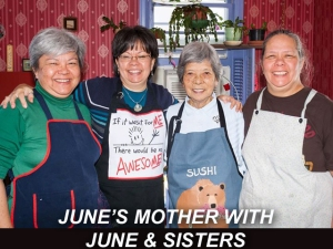 X JUNE'S MOTHER WITH JUNE & SISTERS